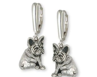 French Bulldog Earrings Handmade Sterling Silver Dog Jewelry FR21-E
