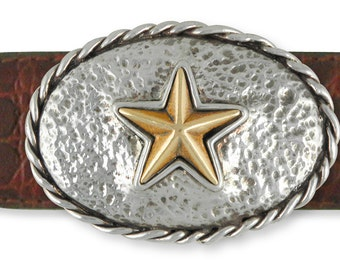 Bronze And Silver Star Belt Buckle Handmade Sterling Silver Mens Jewelry TX-BB
