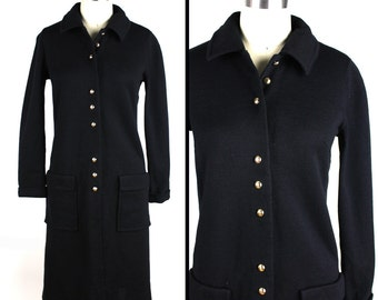 Black Button Up Long Sleeve Virgin Wool Knit Vintage Dress with Pockets - Butte Knit