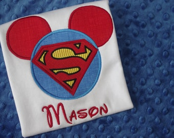 Superman, Batman or Robin - DC Comic Heroes with Mickey Mouse Ears Appliquéd Shirts -- Disney Family Vacation Shirts