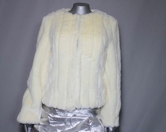 Free Shipping USA only Luscious Light Weight White Faux Fur Coat Formal or Casual Wear