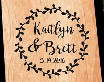 Personalized Wedding Wreath Cornhole Decal | Set of 2 | Rustic Calligraphy | Bride Groom CornHole Sticker | Personalized Wedding Decal