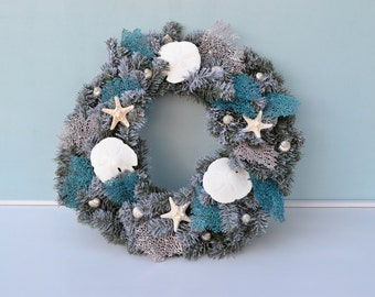 Coastal Christmas Wreath, Beach Decor, Nautical Holiday Wreath, Beach Decor, Nautical Christmas Wreath, Beach Wedding Decor, Seashell Wreath