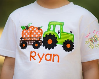Thanksgiving Pumpkin Tractor Boys T-Shirt - Personalized - Applique Shirt - Toddler - Youth - Boy Retro Truck Embroidered T-Day Shirt