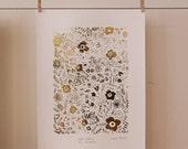 Folk Tales in the Meadows gold foil screen print - Bloom Voyage