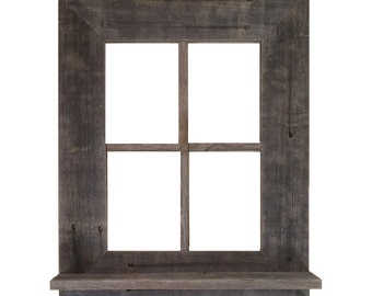 rustic barn wood window frame with shelf key holder