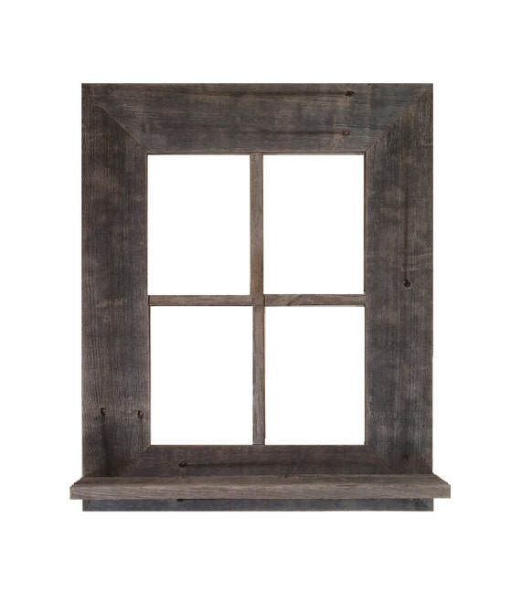 Barn Wood Window Frame With Shelf & key holder