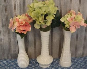 Vintage Large  Milk Glass Bud Vases/Bridal Vases/Set of Three Flower Vases/Wedding Decor/Home and Living/Home Decor/Bridal Shower/