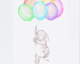 Floating Rabbit nursery art print drawing-illustration