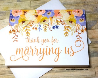 Fall Wedding Thank You - Thank you for Marrying Us - Card for Priest, Rabbi, Officiant - Thank You From Bride and Groom - AUTUMN BLOOMS