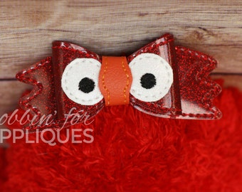 Red Monster Inspired Bow Embellishment ITH In the Hoop Embroidery Design