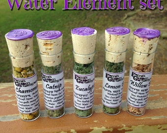 Herbal Witchcraft Set Of 5 Herb Bottles, Sacred Herbs, Magickal Herbs, Pagan Herbs and Flowers