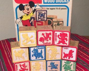 Vintage 11 PC 1978 Playskool Disney Blocks *Shipping Included