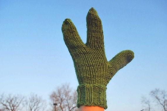 Alien Hand Knit Kiwi Green Warm Three Fingered Gloves or Mittens Fun Unusual