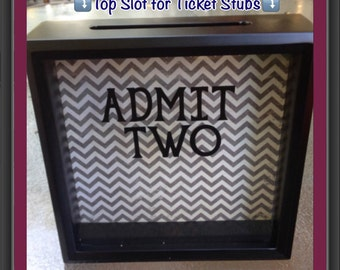 """ADMIT TWO, Ticket Shadow Box, 8x8"""", Anniversary Gift, Wedding Gift, Gift for husband, Gift for wife, Girlfriend gift, Valentines Day"""