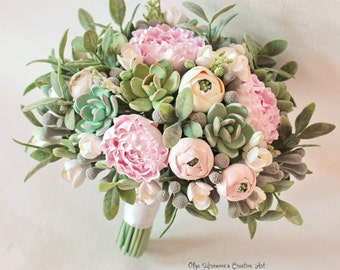 Wedding bouquet Keepsake succulent bouquet Bohobouquet Bridal bouquet with succulents and peonies Green ecowedding Clay flowers