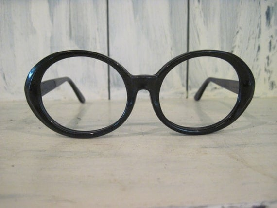 Vintage Shuron Eyeglass Frames : Vintage Shuron USA womens black color oval eyeglasses