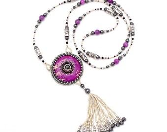 Bead Embroidered Purple Magnesite & Hematite Tassel Necklace - Long Tassel Necklace - Bead Embroidery - Beaded Gemstone Necklace