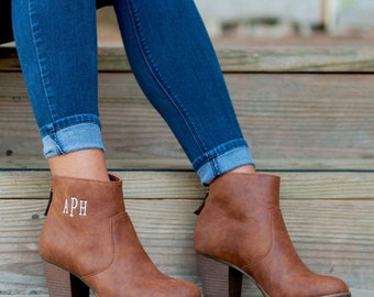 Monogrammed ankle boots