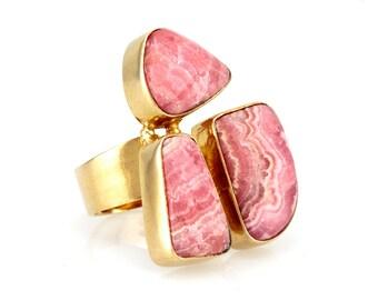 Rodokrosiit ring - 18k gold plated pink gemstone ring - Statement ring