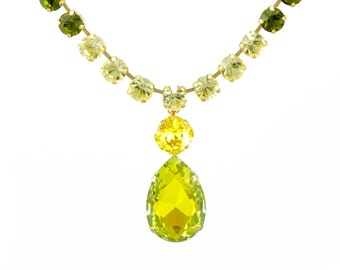 Lime Green Swarovski crystal teardrop pendant necklace - Wedding jewelry