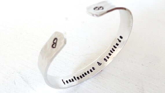 Personalized Engraved Cuff Bracelet, Fearlessness and Gratitude, Inspirational / Christmas Gift For Her, Stocking Stuffer