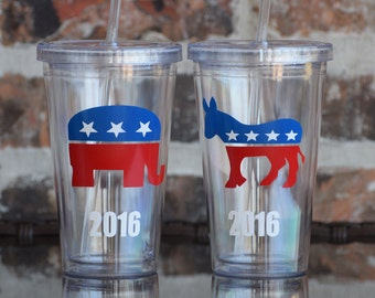 Republican Democrat Party Tumbler 16 ounce / Presidential Election Party Supplies / Campaign Party