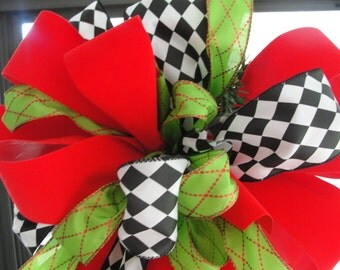 Christmas Tree Bow Red Black Harlequin Lime Green Designer Wired Ribbon Wreath Bow Florist Made