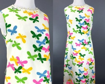 SALE Vintage 1960s Dress | 60s Butterfly Print Shift Sundress | Pink Blue Green Yellow | M L
