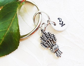 "WHEAT KEYCHAIN - with initial charm (fits 1-2 characters) - Read ""item details"" below and see all photos"