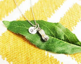 3D PEANUT NECKLACE in silver tone - personalized with initial charm - choice of chains