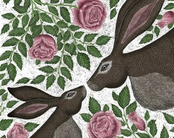 Signed Fine Art Print - Mother & Baby Hare