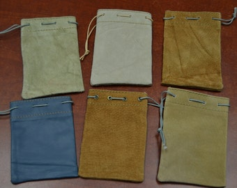 6 Pieces handmade LEATHER DRAWSTRING jewelry Gift POUCHES 3 x 4 Bags