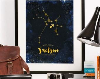 Zodiac astrological art print, teenage boy, teenage girl, Wall decor, graduation gift, GOLD Customized constellation star sign wall art