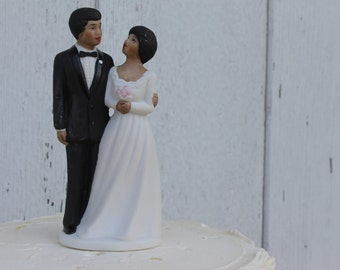 Vintage African American Cake Topper Dated 1984/ Wedding Cake Topper