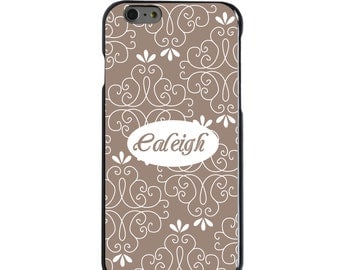 Hard Snap-On Case for Apple 5 5S SE 6 6S 7 Plus - CUSTOM Monogram - Any Colors - Tan White Floral Name