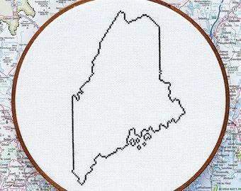 State of Maine map, CROSS STITCH PATTERN