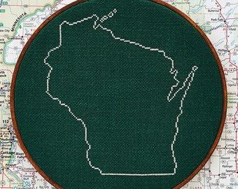 State of Wisconsin map, CROSS STITCH PATTERN