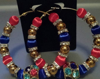 Basketball wives inspired multicolored and gold hoop