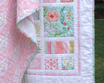 New!  WARM MEADOW Cottage Chic baby girl quilt--40x40--Ready to Ship.