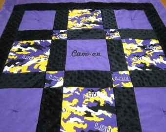 "Custom Made to Order ~ ""Neutral"" Boy or Girl Quilt and Pillow Made with LSU Louisiana State University Fabric and Minky Dot Fabric"