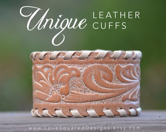 Tooled leather cuff bracelet, distressed, rustic, western, unique leather cuffs, Love Squared Designs