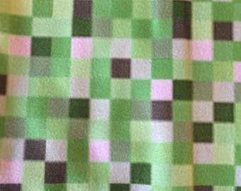 Green 8-bit Video Game Fabric, Fleece, ready to ship