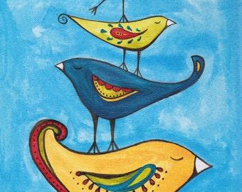 Fancy birds on blue sky, stacked birds, print of original painting