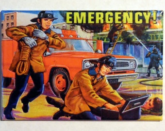 "EMERGENCY Metal LUNCHBOX 2"" x 3"" Fridge Magnet Art Vintage Tv show"
