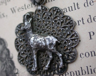 French Antique pendant sterling silver goat filigree  shell bail pendant large solid silver filigree pendant animal hand carved wild animal