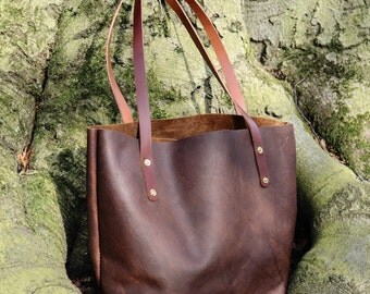 Kodiak Oiled Leather Tote Bag - Handcrafted- The Coleby Tote Bag - Dark Brown or Tan - From Shire Supply Company - Handbag - Totes