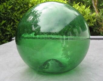 "12"" Diameter Glass Fishing Float, Green, Sea Glass, Antique, Nautical, Beach Decor, Home and Garden, Beach Cottage Decor, Sea, Ocean"