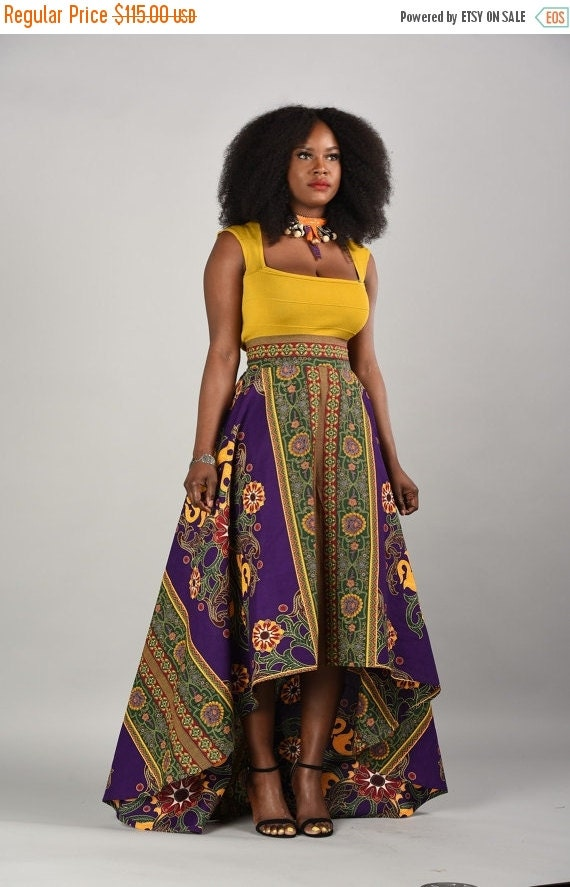 SALE Marble-African print High- Low Skirt.