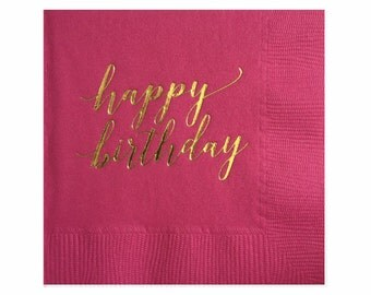 Joyeux anniversaire serviettes de table - serviettes en feuille d'or - Birthday Party Decor
